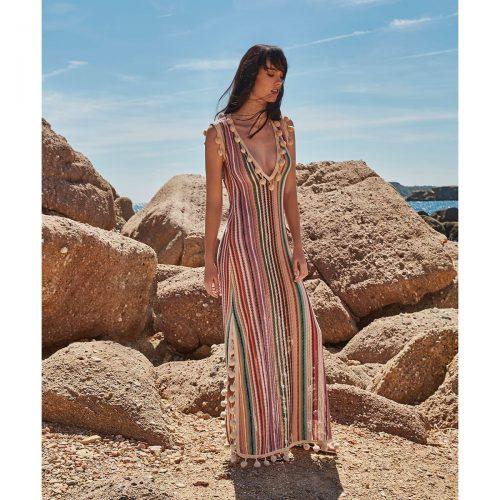 Φόρεμα πλεκτό πολύχρωμο καλοκαιρινό