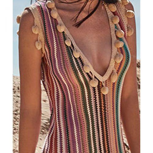 Φόρεμα πλεκτό πολύχρωμο καλοκαιρινό_03